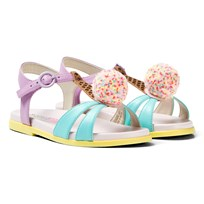 Sophia Webster Mini Multi-Coloured Leather Loni Sandals Aqua & Orchid