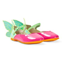 Sophia Webster Mini Chiara Patent and Multi Butterfly Skor Baby Pink Magenta & Aqua