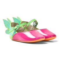 Sophia Webster Mini Chiara Baby Pink Patent Multi Butterfly Shoes Magenta & Aqua