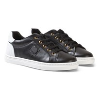 Dolce & Gabbana White and Black Leather Laced Trainers 89690