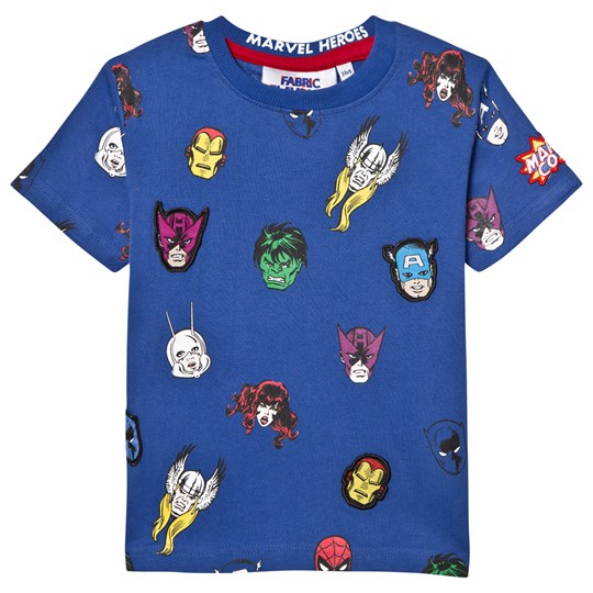 Fabric Flavours Marvel Character Repeat Print Tee Light Blue
