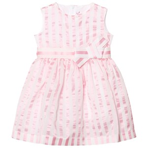 Image of Il Gufo Pink Stripe Seersucker Silk Bow Dress 12 years (2743785601)