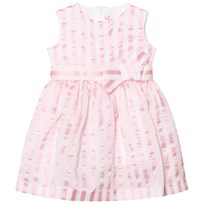 Il Gufo Pink Stripe Seersucker Silk Bow Dress 312