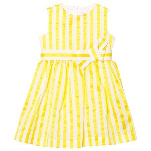 Image of Il Gufo Yellow Stripe Seersucker Silk Bow Dress 12 years (2743785585)