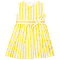 Il Gufo Yellow Stripe Seersucker Silk Bow Dress 213