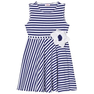 Image of Il Gufo Blue Jersey Flower Dress 2 years (3065504771)