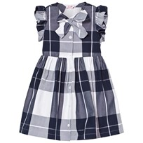 Il Gufo Navy Check Frill Sleeve Dress with Bow Front 495