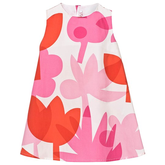 Il Gufo Pink Orange Abstract Floral Dress 359