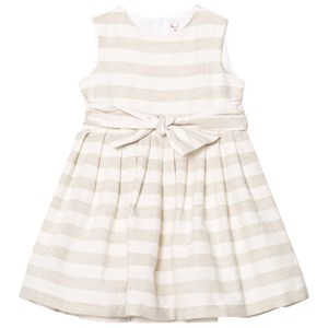 Image of Il Gufo Beige Stripe Linen Bow Dress 2 years (3065504775)