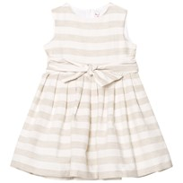 Il Gufo Beige Stripe Linen Bow Dress 113