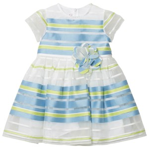 Image of Il Gufo Blue Green Stripe Organza Dress 10 years (2743778669)