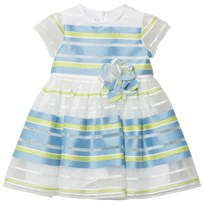 Il Gufo Blue Green Stripe Organza Dress 418