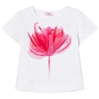 Il Gufo White Flower Print Applique Trapeze Tee 0135