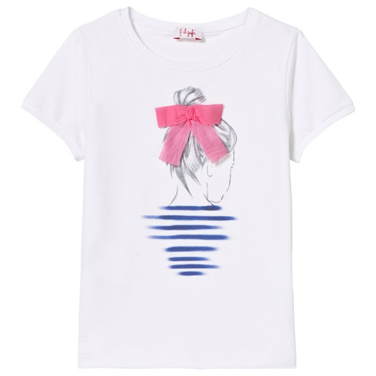 Il Gufo White Girl Print Applique Bow Detail Tee 0135