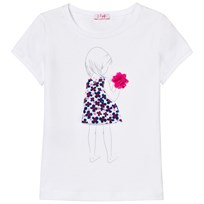Il Gufo White Applique Flower Tee 0147