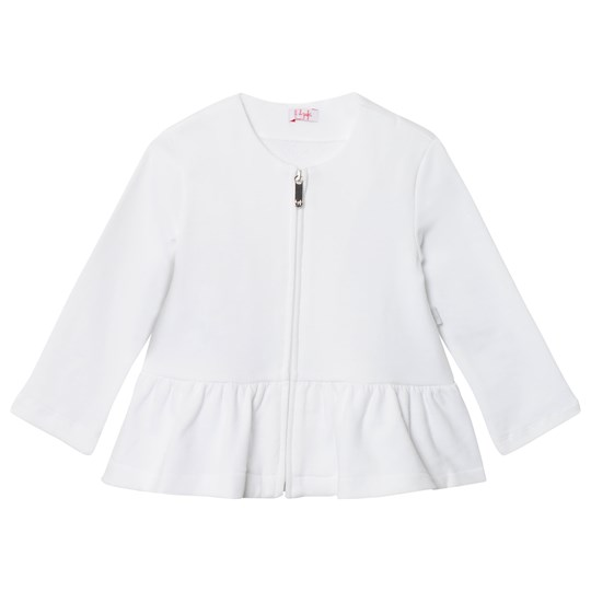 Il Gufo White Cotton Peplum Zip Cardigan 010