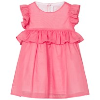 Il Gufo Pink Cotton Frill Sleeve Peplum Dress 356