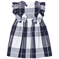 Il Gufo Navy Check Dress Bow Front Detail 495