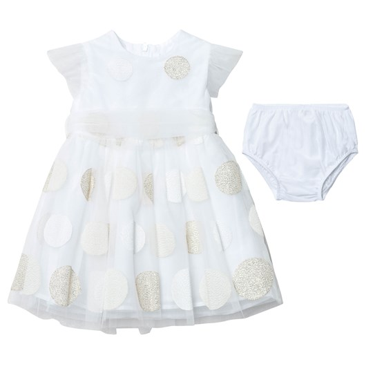 Il Gufo White and Gold Embroiderd Spot Tulle Party Dress with Bloomers 240