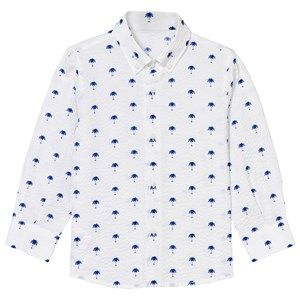 Image of Il Gufo White and Blue Palm Print Seersucker Shirt 12 months (3066369083)