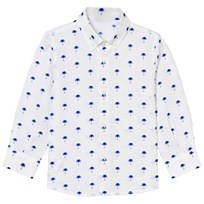 Il Gufo White and Blue Palm Print Seersucker Shirt 477