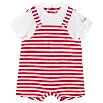 Il Gufo Red and White Mock Overalls Romper 3701