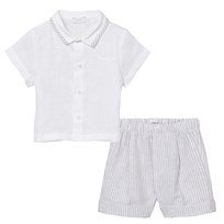 Il Gufo Grey Linen Shirt and Shorts Set 071