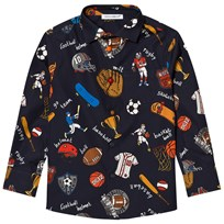 Dolce & Gabbana Navy Sports Cartoon Print Poplin Shirt HBC62