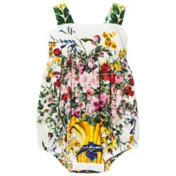 Dolce & Gabbana White and Pink Floral Print Majolica Romper