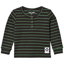 Mini Rodini Rib Grandpa Tee Stripe Black Black
