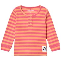 Mini Rodini Stripe Rib Grandpa Top Pink Pink