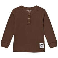 Mini Rodini Solid Rib Grandpa Top Brown BROWN