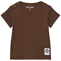 Mini Rodini Solid Rib Short Sleeved Tee Brown BROWN