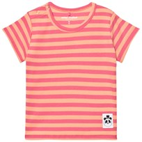 Mini Rodini Stripe Rib Short Sleeve Tee Pink Pink