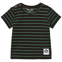 Mini Rodini Stripe Rib Short Sleeved Tee Black Black
