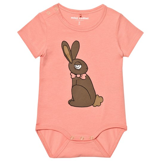 Mini Rodini Rabbit Short Sleeved Baby Body Pink Pink