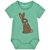 Mini Rodini Rabbit Short Sleeve Baby Body Green Green