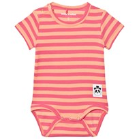 Mini Rodini Stripe Rib Short Sleeve Body Pink Pink