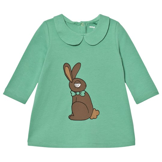 Mini Rodini Rabbit Collar Dress Green Green