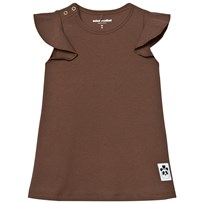 Mini Rodini Solid Rib Wing Dress Brown BROWN
