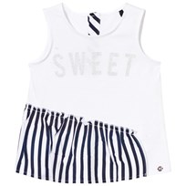 IKKS White Sweet Beaded and Navy Stripe Ruffle Hem Vest 01