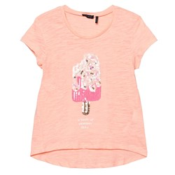 IKKS Sequin Ice Lolly T-Shirt Pink Coral