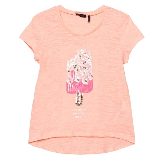 IKKS Sequin Ice Lolly T-Shirt Pink Coral 78