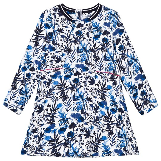 IKKS White/Blue Floral Print Dress 01