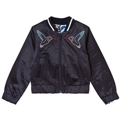 IKKS Navy Bird Embroidered Reversible to Blue Floral Bomber