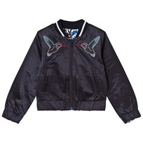 IKKS Navy Bird Embroidered Reversible to Blue Floral Bomber 01