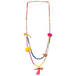Le Big Multi Bird and Pom Pom Elvie Necklace