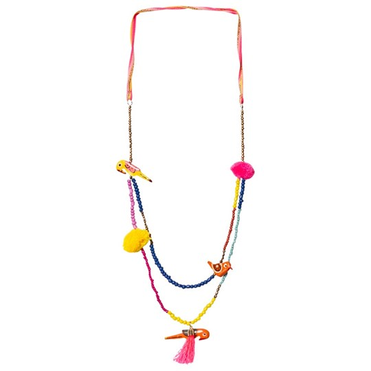 Le Big Multi Bird and Pom Pom Elvie Necklace Multi