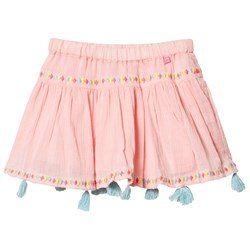 Le Big Blush Pink Embroidered and Tasselled Effy Skirt