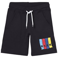 MSGM Navy Sweat Shorts with Multi Colour Branding 060